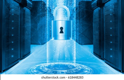 Server data protection concept. Database insurance. Safety of information from virus cyber digital internet technology. Security access to computing. Backup restore