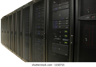 Server Farm or Data Center - Isolated.  Several racks of 1u and 2u servers in black cabiniets.  Image is isolated on white background.