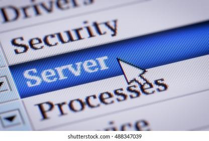 Server. My own design of program menu.