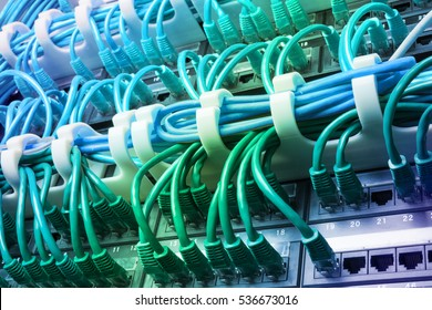 Server rack with blue internet patch cord cables connected to patch panel in server room. Gradient