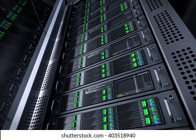 Server rack database. Telecommunication equipment. 3d illustration