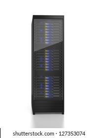 Server rack image. Isolated on white background