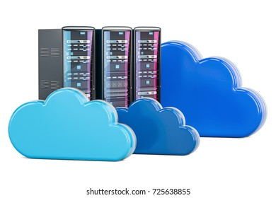 Server Racks with computing clouds. Storage concept, 3D rendering