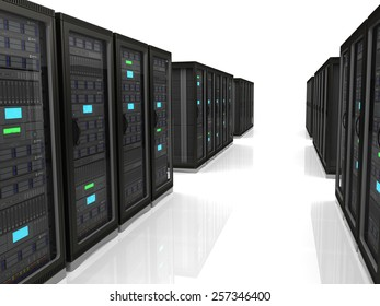 server racks in a row on a white background whith
