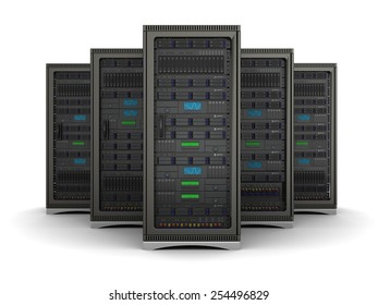 server racks standing in a row on a white background
