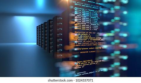 server room 3d illustration with node base programming data  design element.concept of big data storage and  cloud computing technology.