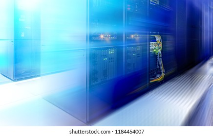 Server room blurred. web internet and network telecommunication technology, big data storage and cloud computing computer service business concept