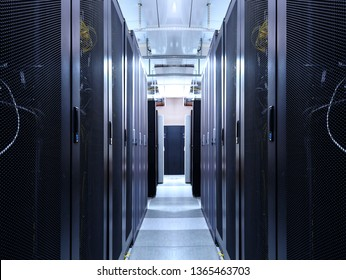 Server room data center network for virtual hosting services. Corridor inside with racks of supercomputers mainframe and high speed connection visualisation. Datacenter cloud cluster