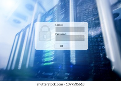 Server room, login and password request, data access and security.?