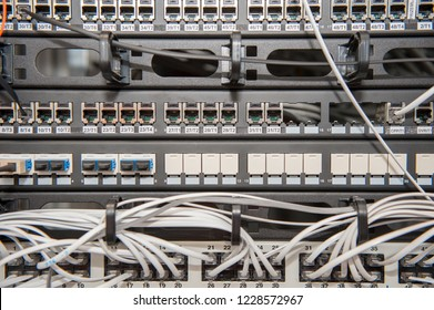 Server room with routers and cables