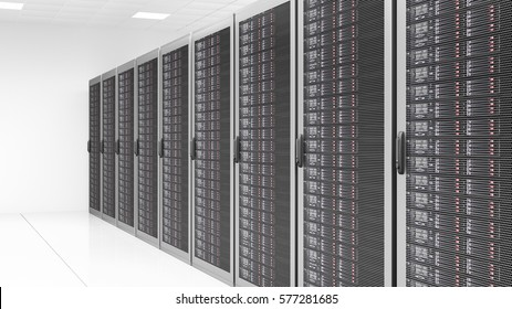 Server room with a row of servers 3d rendering