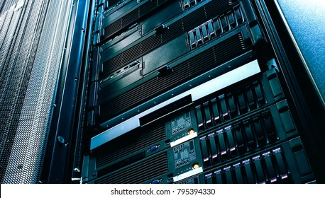 Server technology in datacenter from bottom view with depth of field