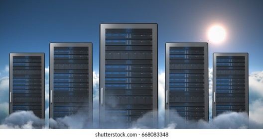Server Tower against scenic view of sun over cloudscape during sunny day