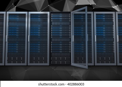 Server towers against digital image of abstract pattern