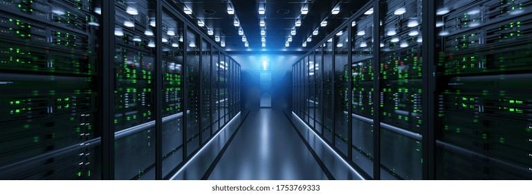Server-Einheiten im Cloud-Service-Rechenzentrum mit flackernden Lichtanzeigen für massive Datenverbindungsbandbreite