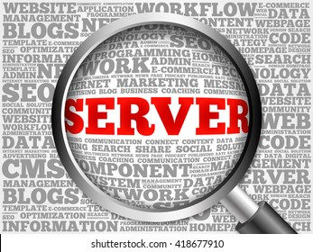 Server word cloud with magnifying glass, business concept