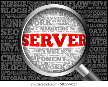 Server word cloud with magnifying glass, business concept 3D illustration