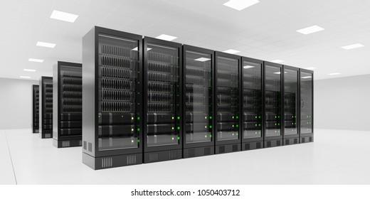 Serverroom with black racks 3d rendering