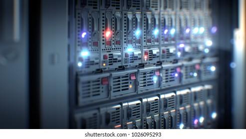 Servers close up. Modern datacenter. Cloud computing. Blade server and storage. 3d rendering