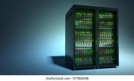 Servers. Modern datacenter. Cloud computing. Blade server and storage. 3d rendering