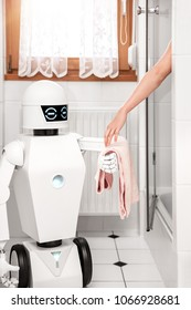 service Ambient Assisted Living robot is giving a towel to an women under the shower in the bathroom