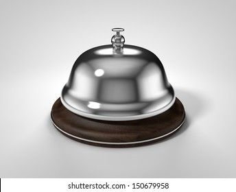 service bell isolated on white background. Hotel Up Classic Vintage metal cover with wooden stand. image inside the picture box render
