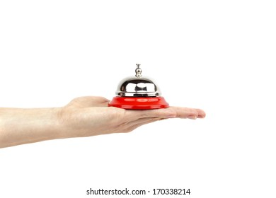 Service bell on a hand, isolated on white, customer service concept image