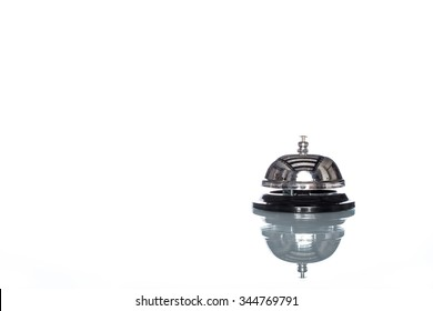 Service bell on white background,  customer demand, reflection