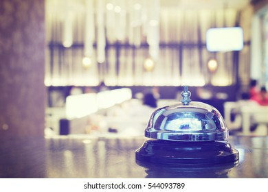 Service bell at the restaurant with bokeh blur background