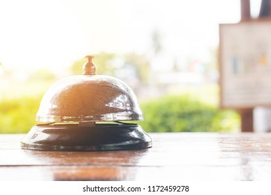 Service bell at the restaurant with nature bokeh background