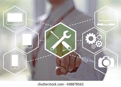 Service business, technology, internet and networking concept - businesswoman presses technical support button on virtual screen. Repair, maintenance. 24/7. Support 24 hours a day. Technician help.