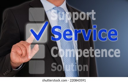 Service - Businessman with touchscreen