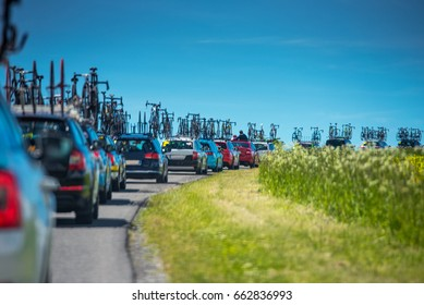 Service cars during professional cycling race - Tour de France concept photo
