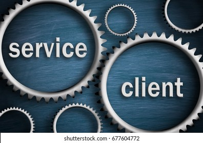 Service and Client - Business cogwheel concept on blue background