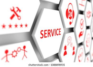 SERVICE concept cell blurred background 3d illustration