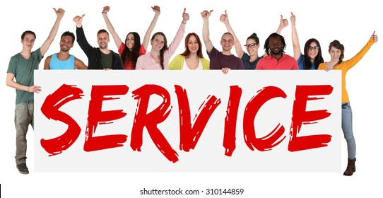 Service concept group of young multi ethnic people holding banner isolated