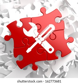 Service Concept - Icon of Crossed Screwdriver and Wrench - Located on Red Puzzle. Business  Background.