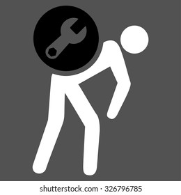 Service Courier illustration icon. Style is bicolor flat symbol, black and white colors, rounded angles, gray background.