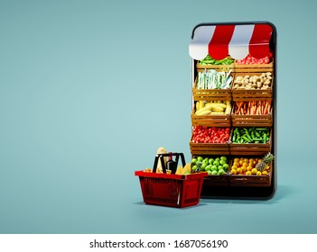 Service for delivery app. Food market in smartphone. Online shop. Food delivery background concept. Online shop in your smartphone. Shopping cart. - Shutterstock ID 1687056190