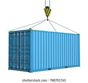 Service delivery - blue cargo container hoisted by hook. 3D rendering