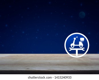 Service fix motorcycle with wrench tool flat icon on wooden table over fantasy night sky and moon, Business repair motorbike service concept