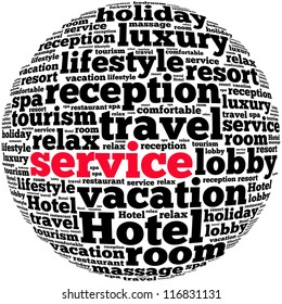 Service info-text graphics and arrangement concept on white background (word cloud)