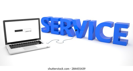 Service - laptop computer connected to a word on white background. 3d render illustration.