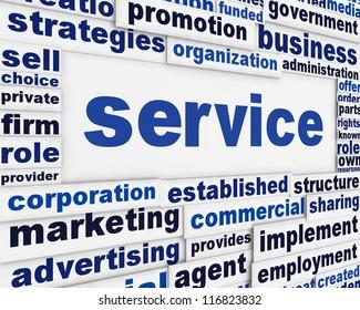 Service poster design. Development assistance message background