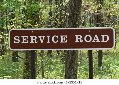Service road sign at the park.