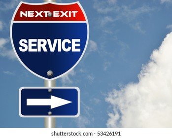 Service sign with blue sky