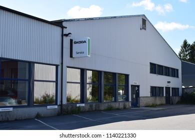 Škoda Service sign - building - Kongsvinger, Norway (23th July 2018)