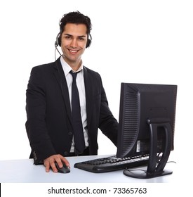 Service with a smile  male secretary near a computer
