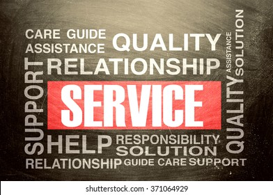 Service Text on chalkboard