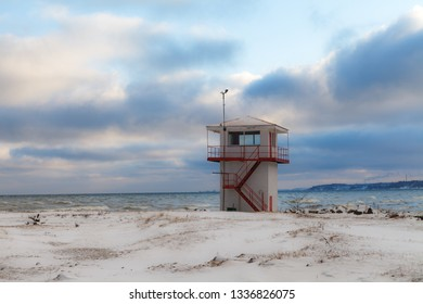 Service watching tower on the shore of Baltic sea.